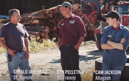 Screen shot of a September 2016 political television ad endorsed by Emily Cain in which northern Maine loggers express opinions about U.S. Rep. Bruce Poliquin.