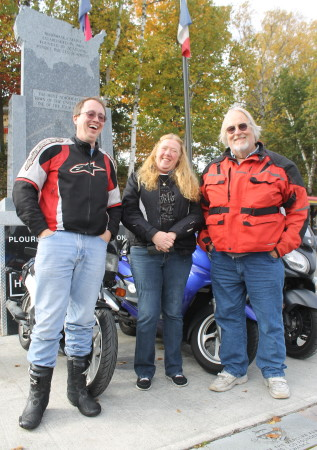 "Three of the drivers in this year's ""Real Cannonball"" race from Imperial Beach, California to Four Corners Park in Madawaska, arrived Wednesday, Oct. 5. Tim Gron, right, was the first driver into town early Wednesday night. Gron finished first in the scooter category, followed by Linda Hurley, center, who arrived within an hour of Gron. Ray Hixon, left, also arrived early Wednesday night and came in first in the motorcycle category.   Don Eno 