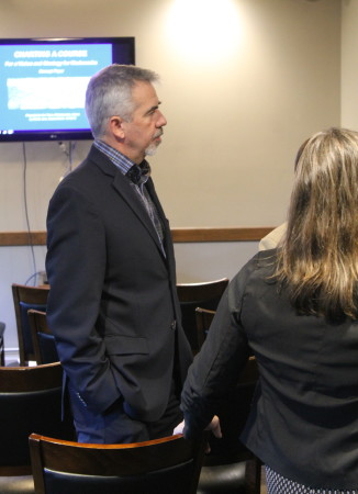 Edmundston, New Brunswick Mayor Cyrille Simard was one of more than 30 people attended a business-to-business gathering, Oct. 12, in Madawaska, to hear a presentation on a new strategic planning initiative. Don Eno | SJVT / FhF)