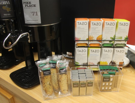 Along with world-famous Starbucks coffee, the Bengal's Lair at the University of Maine at Fort Kent also offers Starbucks brand biscotti, teas, mints and gums as of Tuesday, Nov. 29, 2016. Jessica Potila | SJVT / FhF)