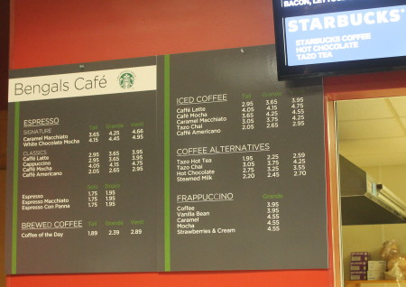 A new Starbucks menu hangs at the Bengal's Lair at the University of Maine at Fort Kent on Tuesday, Nov. 29, 2016. Jessica Potila | SJVT / FhF)