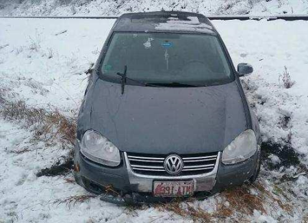 Fort Kent, Maine -- 11/27/06 -- A 2009 Volkswagen car was extensively damaged in an accident on Sunday, Nov. 27. Contributed photo)
