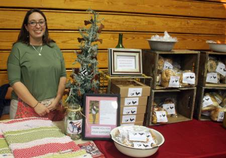 Jodi Guy, owner of The Funny Farm, sells her baked goods at the Fort Kent Arts & Craft Fair at UMFK on Saturday, Nov. 26, 2016. (Jessica Potila | SJVT / FhF)