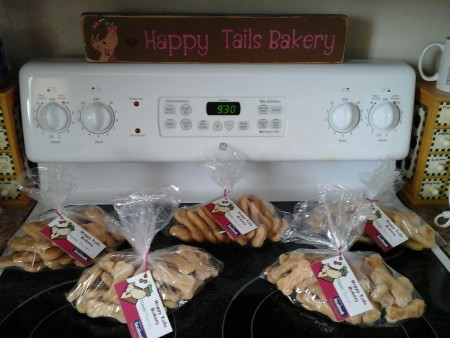Brooke Levesque, 8, of Madawaska, sells a variety of homemade dog treats through her Happy Tails Bakery business. (Contributed photo)