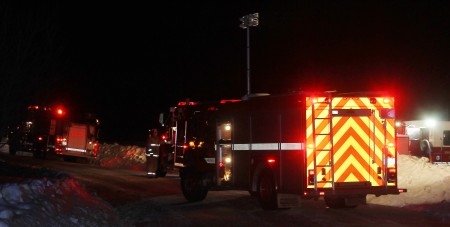 Firefighters with the Fort Kent Fire Department were at the scene of a barn fire on Blaine School Road in Fort Kent on Sunday night, Jan. 1, 2017. (Jessica Potila | SJVT / FhF)