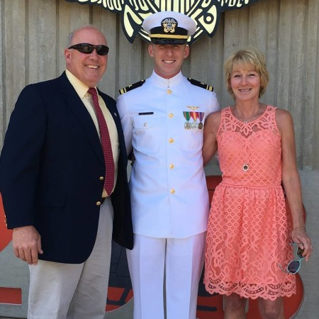 "Derek Pelletier of Eagle Lake earned his ""Wings of Gold"" from the U.S. Navy on July 8, 2016. From left: Tom Pelletier, Derek Pelletier, Carol Pelletier. (Contributed photo)"