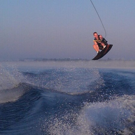 Derek Pelletier wakeboarding in North Carolina, summer of 2014. (Contributed photo)