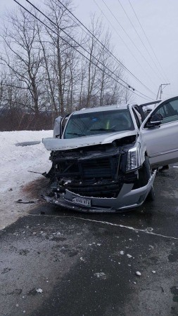 According to police, Douglas Hise, was driving this Cadillac Escalade in the wrong lane on U.S. Route 1, late Saturday morning, Feb. 11, in St. David, when he struck two vehicles within a few miles of one another.