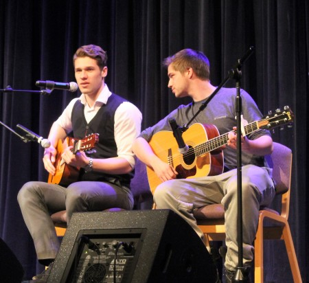 George Safonov (left) and Jon Rochester played guitar as Safonov beatboxed at the University of Maine at Fort Kent talent show on Saturday, February 4. (Jessica Potila | SJVT/FhF)