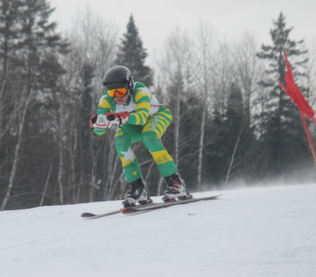 Fort Kent's Austin Plourde raced to third place in both the slalom and giant slalom events of the Aroostook County Alpine Championships at Lonesome Pine Trails on Saturday, Feb. 11. (Jessica Potila | SJVT/FhF)