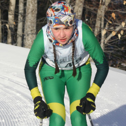 Dolcie Tanguay of the Fort Kent Warriors placed fourth overall in 20:59.8 in the Aroostook League classical ski championships held Feb. 7 in Presque Isle.   (Staff photo | Kevin Sjoberg)