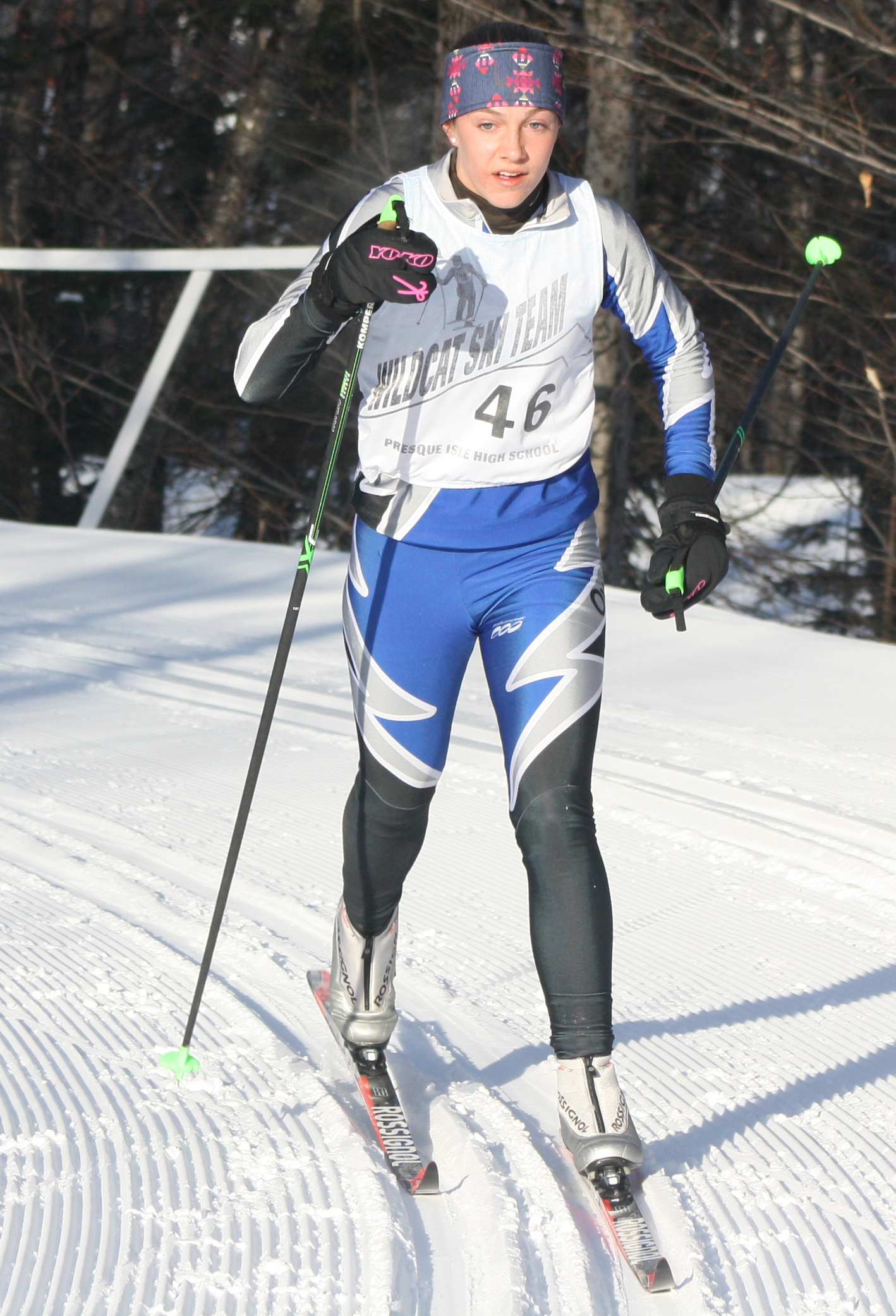 Madawaska's Isabelle Jandreau heads toward the finish of five-kilometer course during the Feb. 7 Aroostook League classical ski championships at the Nordic Heritage Center in Presque Isle. Jandreau won the title with a time of 18 minutes and 52.7 seconds. (Staff photo | Kevin Sjoberg)