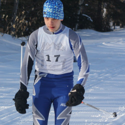 Madawaska's Ryan Levesque approaches the finish of the Feb. 7 classical-style Aroostook League championship race held at the Nordic Heritage Center in Presque Isle. (Staff photo | Kevin Sjoberg)