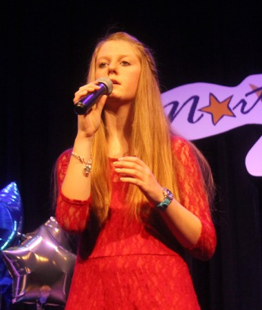 Singer Savanna Hanlin delivered a moving vocal performance in memory of her late grandmother at a Northern Star competition at the University of Maine at Fort Kent Fox Auditorium on Friday, March 3. (Jessica Potila | SJVT/FhF)