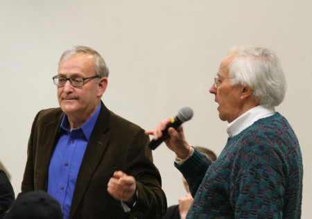 Aroostook County legislators, Danny Martin, left, and John Martin, respond to audience questions at a Town Hall meeting hosted by Maine Democratic party leaders, Friday March 3, at the University of Maine at Fort Kent. (Don Eno | SJVT/FhF)