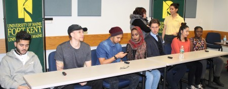 A diverse panel of students met with community members at the University of Maine at Fort Kent on Wednesday, March 8 to promote inclusion. From left: Faizi Salim, Rosevelt Smith, Ryan Merckel, Habiba Mohamed, George Safonov, Armairani Carbajal, and Ruth-Ann Lorman. (Jessica Potila | SJVT/FhF)