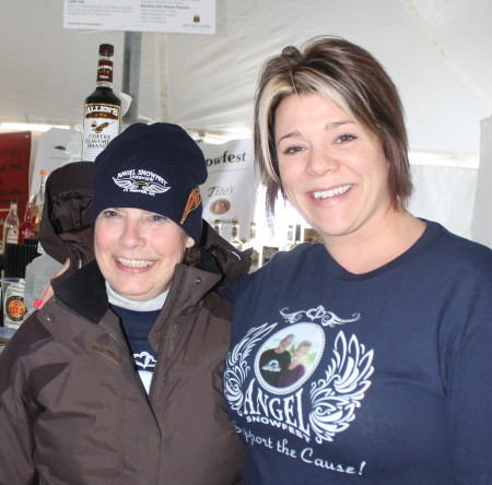 Judy Tardiff, left, generated more that $5,000 in donations for her snowshoe walk as part of Angel Snowfest, Saturday, March 11, at the Lakeview Restaurant in St. Agatha. With Tardiff is Lakeview co-owner Jennifer Daigle. (Don Eno | SJVT/FhF)