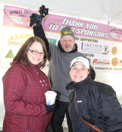 Among the many supporters at this year's Angel Snowfest, Saturday, March 11, at the Lakeview Restaurant in St. Agatha were, Danielle Hebert, left, Dave Morneault and Samantha Morneault. (Don Eno | SJVT/FhF)