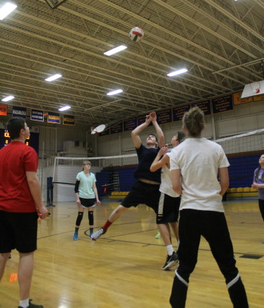 "Members of Van Buren District Secondary School's girls and boys intramural volleyball teams practice, Monday afternoon, March 13, in preparation for taking part in the upcoming annual Aroostook League tournament. The league organizes the tournament each year for schools in the region, who do not have volleyball as a varsity sport. Van Buren's athletic director, Jay Edgecomb said the sport is played in the fall at other, larger schools downstate. However, that is soccer season in the St. John Valley and Aroostook County, where that sport is ""king,"" he said. The Crusader girls are scheduled to play in their tournament Friday, March 17, in Washburn. The Boys are set to play, Saturday, in Fort Fairfield. Edgecomb said Van Buren was unable to assemble enough volleyball players last year, but that the school had previously gone to the annual tournament for more than 20 years. Division I teams include Caribou, Fort Kent, Madawaska, Houlton and Presque Isle. Div. II includes Fort Fairfield, Ashland, Central Aroostook, Easton, GHCA, Hodgdon, Katahdin, LCS/MSSM, Van Buren and Wisdom.   (Don Eno 