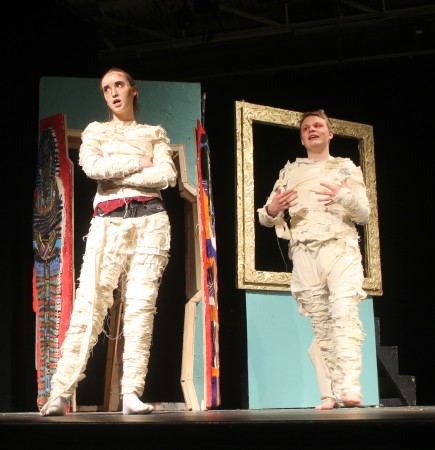 Fort Kent Community High School students Bailey O'Brien (left) and Riley Troyer perform in a Doug Clapp directed play at the University of Maine at Fort Kent Fox Auditorium on Tuesday, March 7. (Jessica Potila | SJVT/FhF)