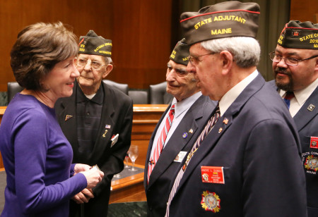 Senator Susan Collins chats with Maine VFW members March 1 at a legislative reception in Washington, D.C., in her honor, after being presented with the VFW's 2017 Congressional Award. With her are, from left, Peter Miesburger, Maine legislative chairman, Caribou; Raymond R. Lupo, national council member, Hampden; Andre L. Dumas, adjutant, Caribou; Steven J. SanPedro, state commander, Windham.  (Contributed photo)