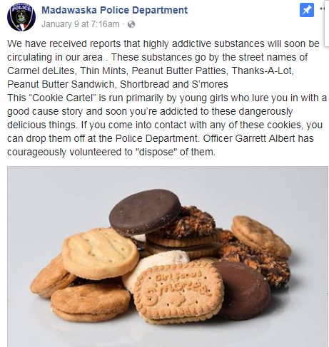 Police hilariously warn against 'highly addictive' Girl Scout cookies