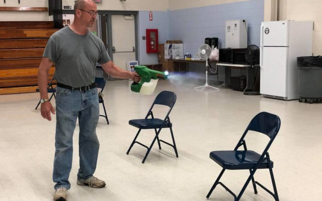 Disinfectant foggers clean up school after budget hearing
